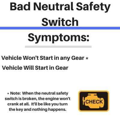 Symptoms of a Bad Neutral Safety Switch